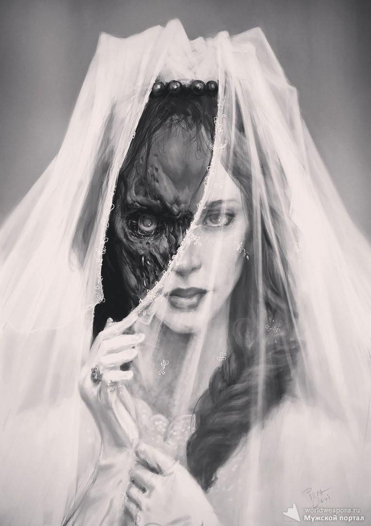 Невеста, свадьба, брак, обличие, темная и светлая сторона. Фото к цитате.