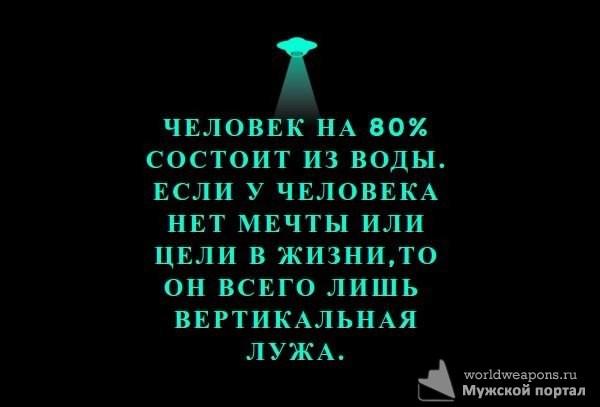 Человек на 80% состоит из воды. Если у человека нет мечты или цели в жизни, то он всего лишь вертикальная лужа.