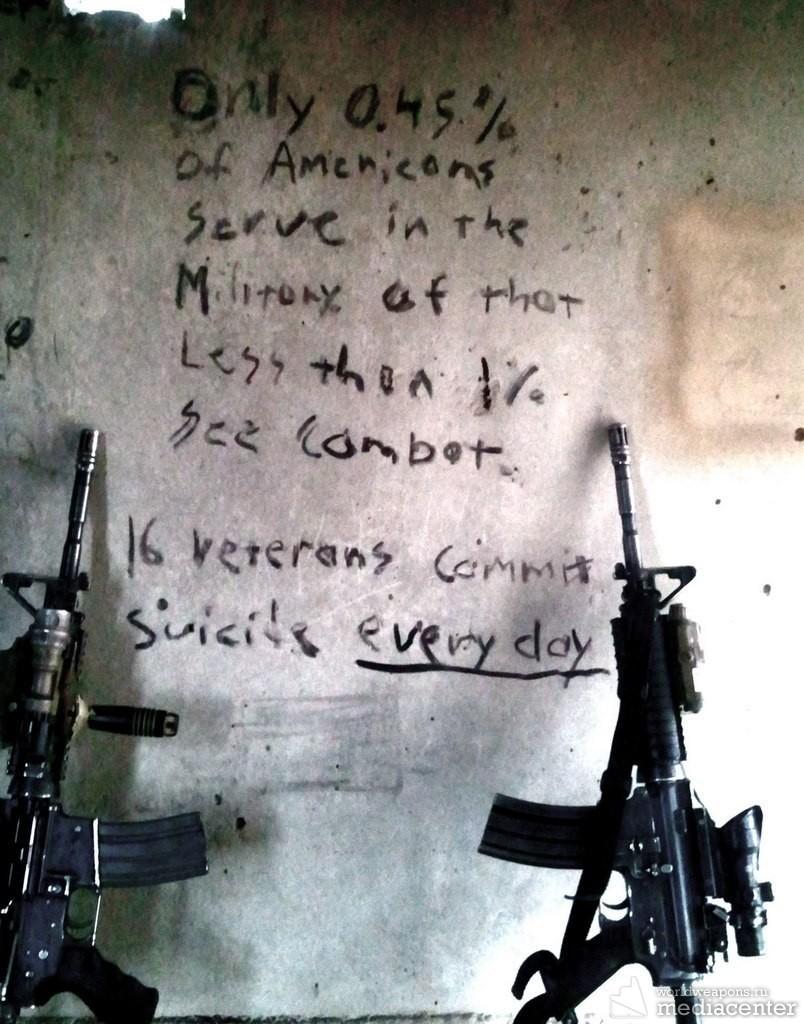 Написано на стене в Афганистане  Всего 0,45 процента американцев служат в армии  Из них менее 1 процента участвовало в боевых действиях.  16 ветеранов кончают жизнь самоубийством ежедневно.