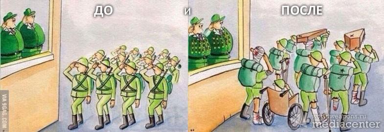 До и после армии. Суть и правда об армии. Как говорится - ноу комментс. Карикатура об армии.