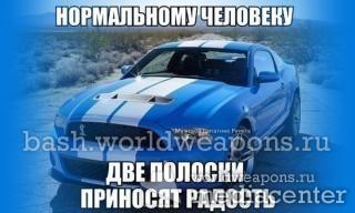 Нормальному человеку две полоски приносят радость. Ford Mustang. Две полосы скорости.