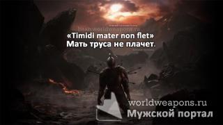 «Timidi mater non flet». Мать труса не плачет.